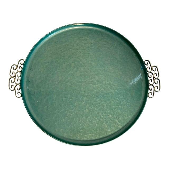 1950s Moiré Glaze Kyes Green California Handmade Tray For Sale