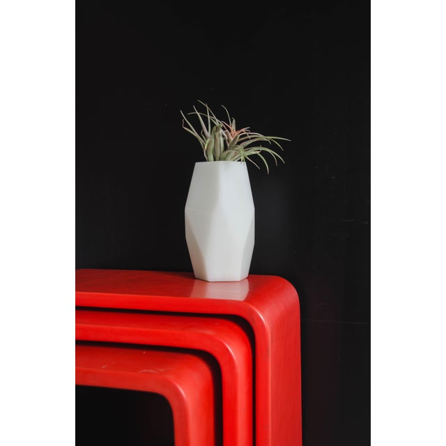 2010s Waterfall Nesting Tables - Red Lacquer by Robert Kuo, Hand Made, Limited Edition For Sale - Image 5 of 6