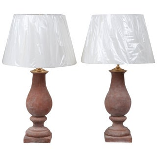 Red Terra Cotta Hand Molded Baluster Lamps - a Pair For Sale