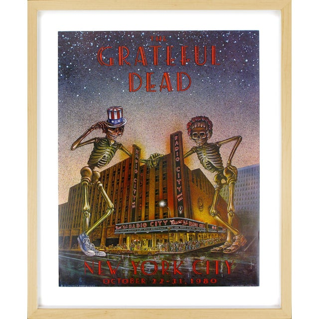 Pristine The Grateful Dead concert poster, New York City, 1989. Given as a gift from the printer and concert promoter Bill...