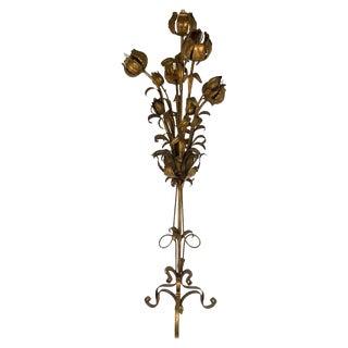 Hollywood Regency Italian Gilt Tole Five Light Floral Floor Lamp For Sale