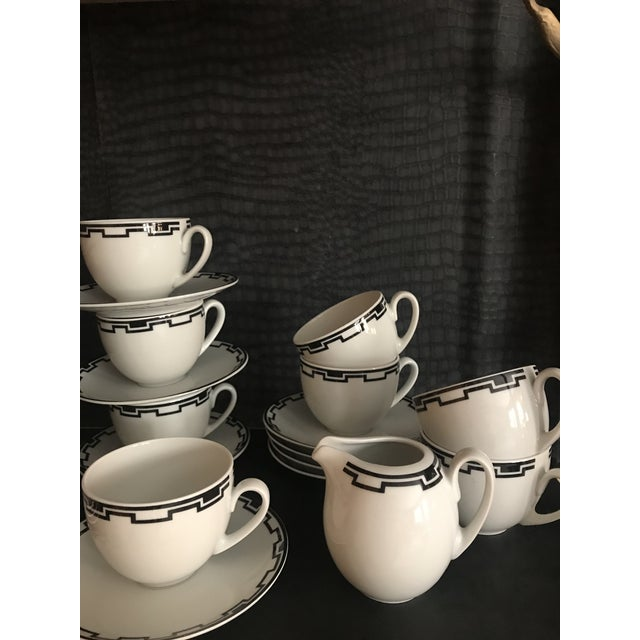 Ceramic Modern Greek White Black Geometric Sompex Ionia Collection Service of 11 For Sale - Image 7 of 12
