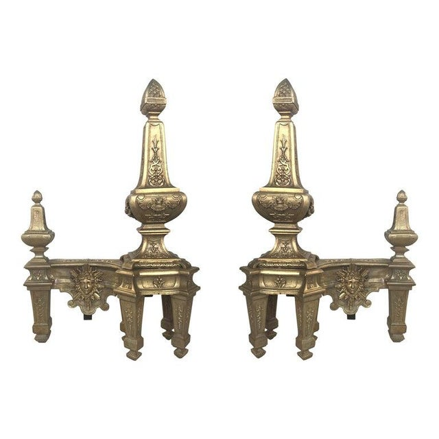 19th Century Set of Antique Andirons or Firedogs in Bronze and Iron For Sale - Image 13 of 13