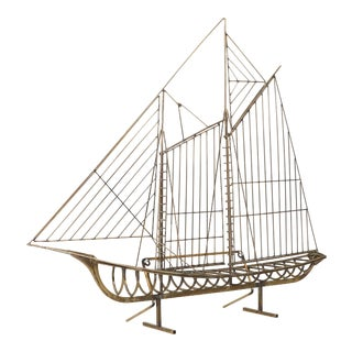 Curtis Jere Brass Boat Sculpture - 1988 For Sale