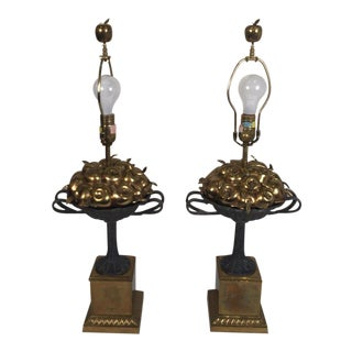 Chapman Brass and Iron Lamps - a Pair For Sale