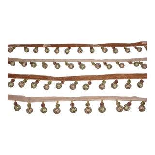 Kravet Wire Bead Peridot Taupe Me ic Beaded Tassel Fringe Trim - 6-1/4y For Sale