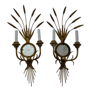 Pair of Mid Century Hollywood Regency Sheaf of Wheat Wall Sconces