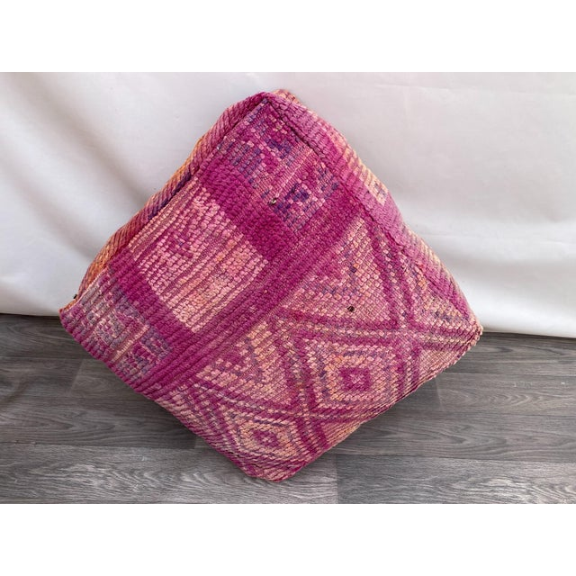 Pink Hand Woven Berber Moroccan Pouf Cover For Sale - Image 8 of 13
