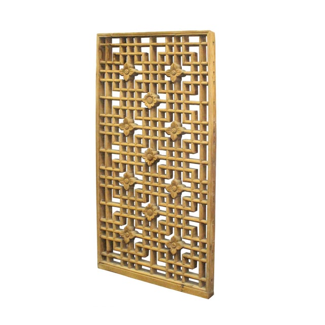 Chinese Handmade Vintage Rustic Flower Star Geometric Wood Panel For Sale - Image 4 of 7