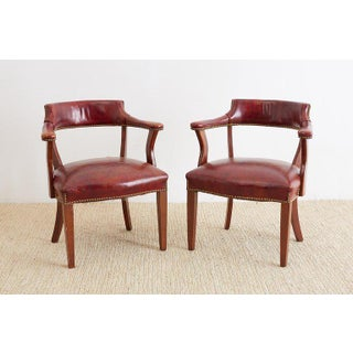 Pair of English Mahogany and Leather Captains Chairs Preview