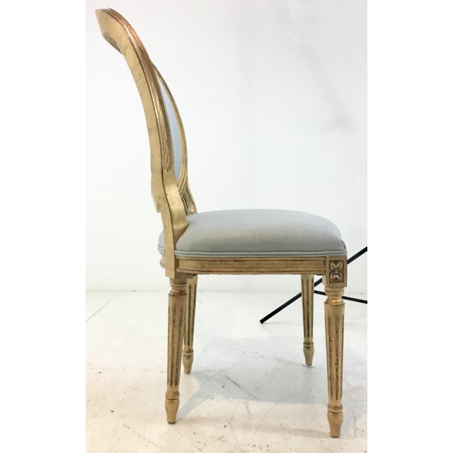 2010s Currey and Co. French Style Palais Blue and Gold Side Chairs Pair For Sale - Image 5 of 7