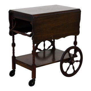 Mid Century Cherry Wood Bart Cart For Sale