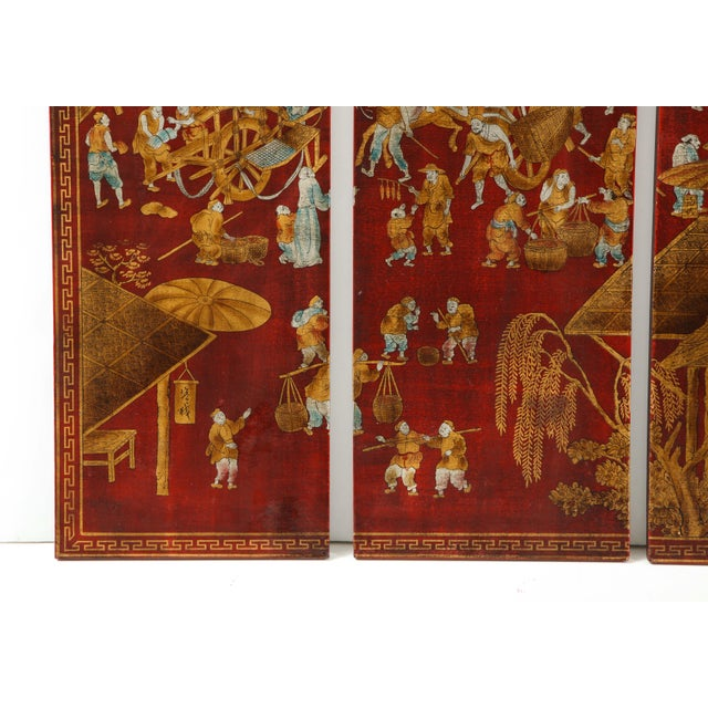 Red Lacquered Chinoiserie Panels - Set of 6 For Sale - Image 11 of 13