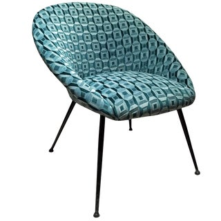 Mid-Century Curved Back Lounge Chair in Green Patterned Silk Velvet For Sale