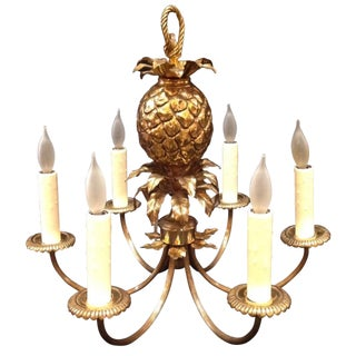 1960's Maison Charles Brass Pineapple Chandelier For Sale