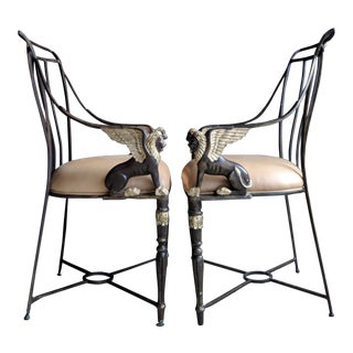 Maitland Smith-Style Neoclassical Armchairs, a Pair For Sale