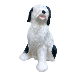 Regency Style Hand-Painted Ceramic Sheepdog For Sale