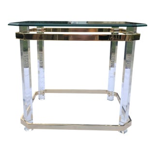 Vintage Charles Hollis Brass and Lucite Side Table For Sale