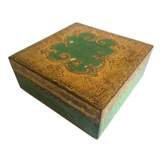Vintage Mid Century Florentine Toleware Gold Leaf Verdigris Square Hinged Box For Sale