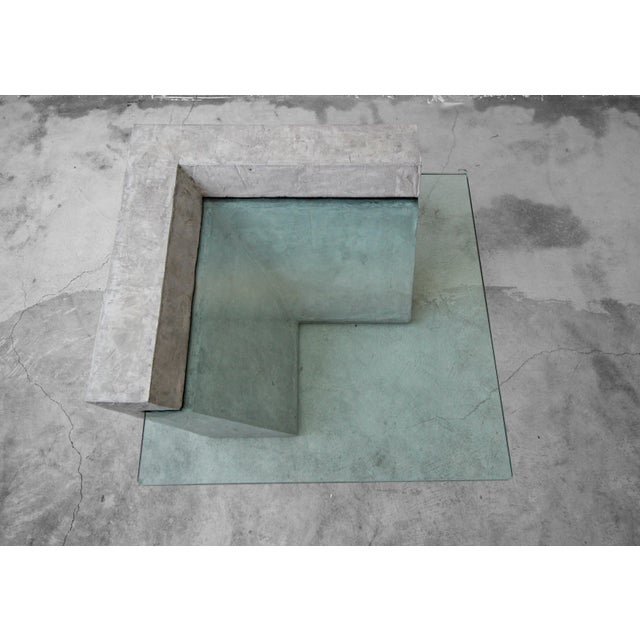 Cantilevered Faux Concrete Plaster and Glass Coffee Table For Sale In Las Vegas - Image 6 of 8