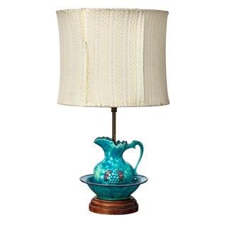 Vibrant Blue Italian Pottery Water Basin Table Lamp