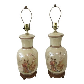 Hand-Painted Japanese Porcelain Oriental Lamps - A Pair For Sale