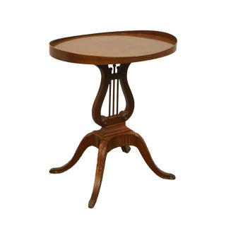20th Century Traditional Mersman Furniture Solid Mahogany Harp/Gueridon Base Accent Table For Sale