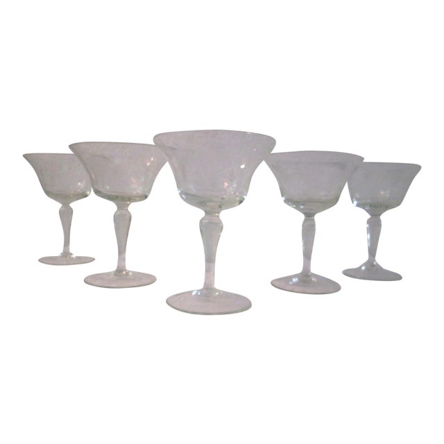 Mid-Century Etched Grape Cocktail Coupes - S/6 - Image 1 of 6