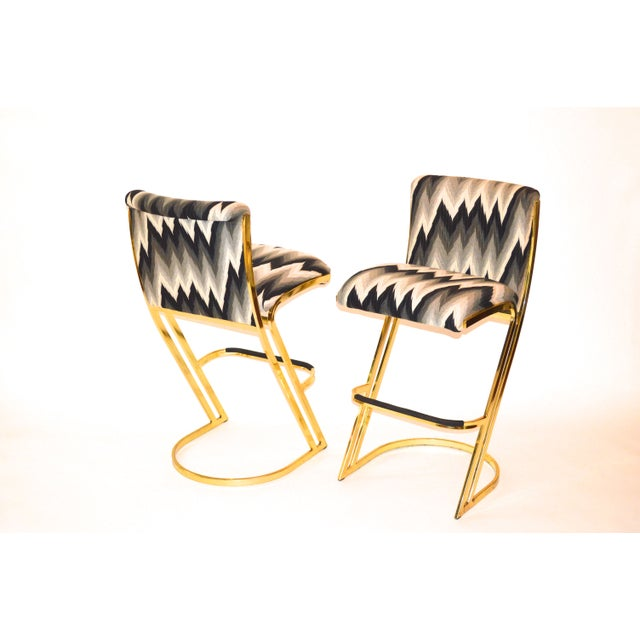 Americana Brass Bar Stools by Design Institute America For Sale - Image 3 of 3
