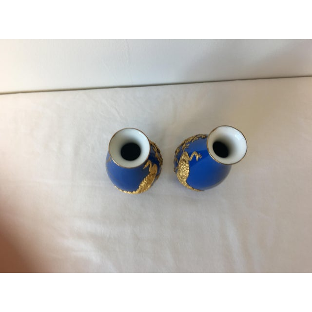 Blue and 18k Gold Vases with Peacock Design - A Pair - Image 7 of 8