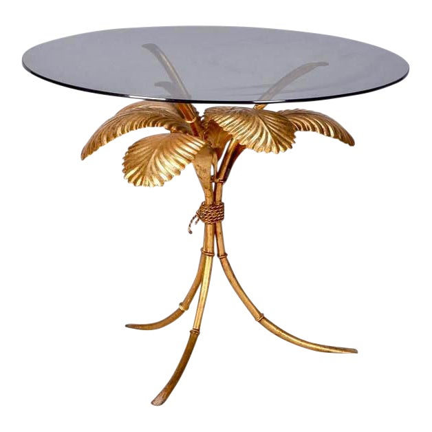 Italian Gilt Metal Palm Leaf Side Table with Smoked Glass Top For Sale