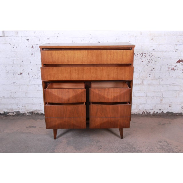 Wood Mid-Century Modern Sculpted Walnut Diamond Front Highboy Dresser by United For Sale - Image 7 of 13