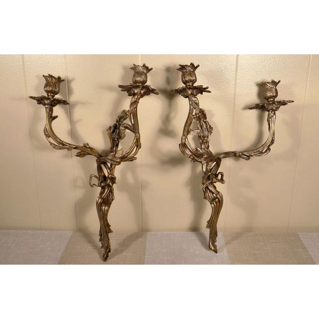 Metal Global Views Louis XV Style Wall Sconces - a Pair For Sale - Image 7 of 11