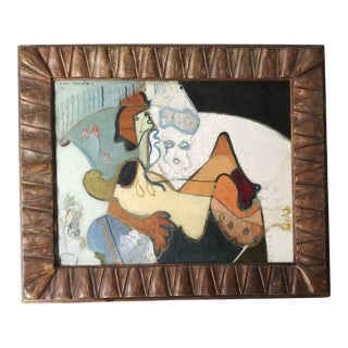 1937 French Cubist Style Oil Painting by Roger Toulouse, Framed For Sale
