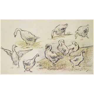 """1959 Alfred Sisley """"Geese"""", Cottage Style Vintage First Edition Photogravure For Sale"""