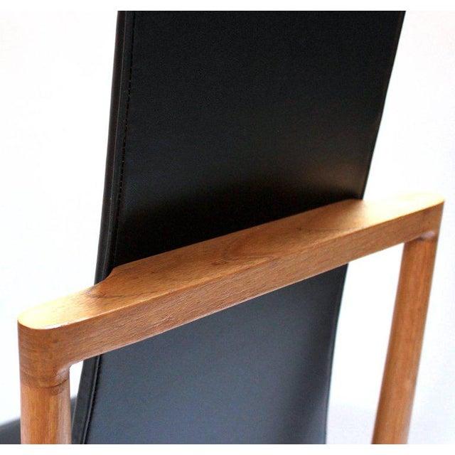 Black Danish Modern Teak & Black Vinyl Tall-Back Dining Chairs - Set of 4 For Sale - Image 8 of 11
