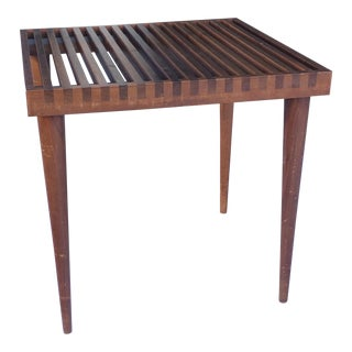 1950s Vintage Theille for Mel Smilow Slat Slatted Top Stool Bench Side Table For Sale