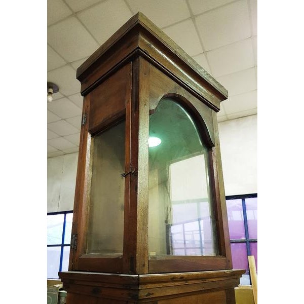 Glass 19th Century Antique French Tall Oak Clock Case and Non Working Clock For Sale - Image 7 of 12