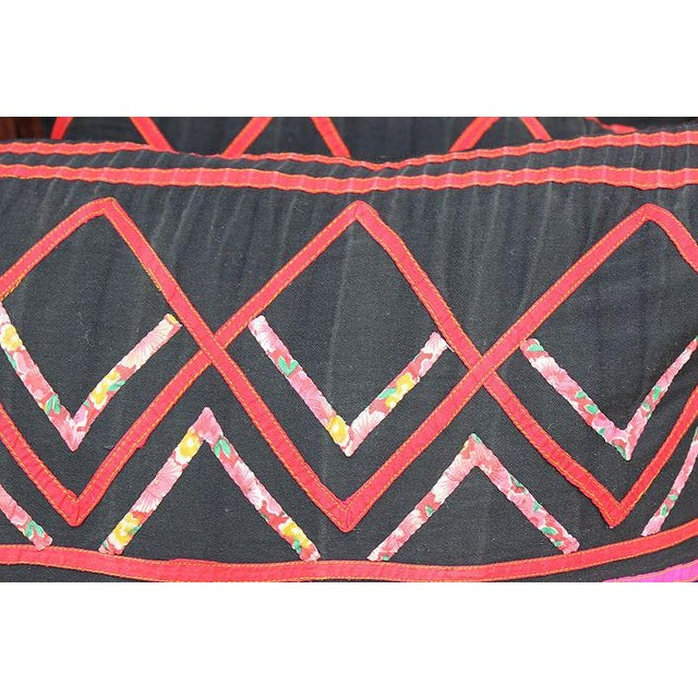 "Vintage Hmong Black and Pink Pillow - 23"" x 12"" - Image 3 of 3"