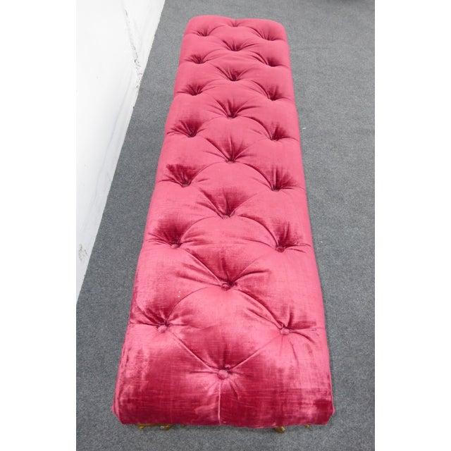 Vintage Hollywood Regency Red Velvet Tufted Bench - Image 4 of 8