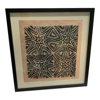 Ethnic Abstract Black and White Painting on Salmon Paper For Sale