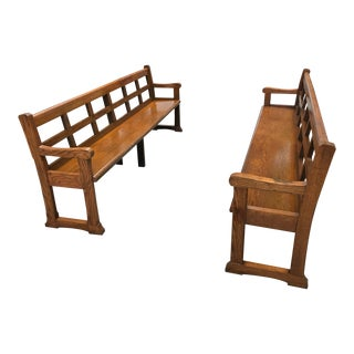 Mid-20th Century Regency Wood Church Pews - a Pair