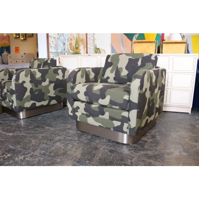 Camouflage Cube Chairs With Bronze Plith - Pair - Image 4 of 8