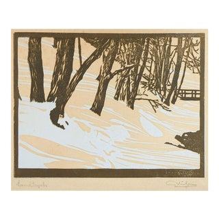 Vintage Norwegian Winter Landscape Woodcut Print For Sale