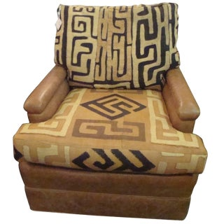 1960s Vintage Kuba Cloth and Leather Chair For Sale