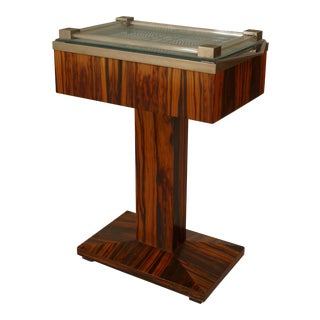 French Art Deco Palisander Wood Pedestal Base Rectangular End Table For Sale