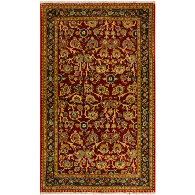 Red Istanbul Sidney Red/Teal Turkish Hand-Knotted Rug -3'2 X 5'1 For Sale - Image 8 of 8