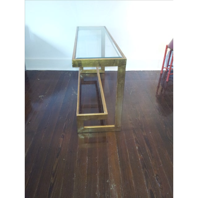 Contemporary Gilt Metal and Glass Console - Image 5 of 6