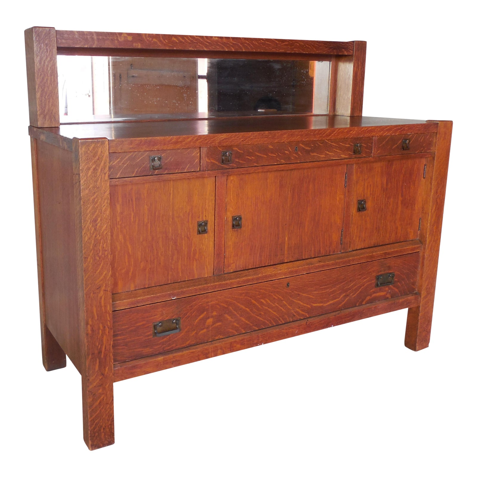 Antique Mission Arts & Crafts Tiger Oak Sideboard Buffet By