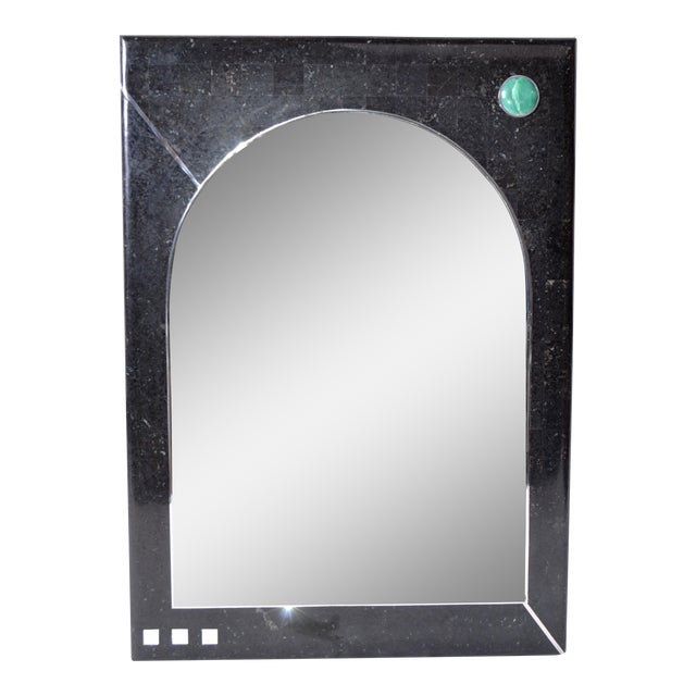 Oggetti Tessellated Stone Mirror with Chrome For Sale